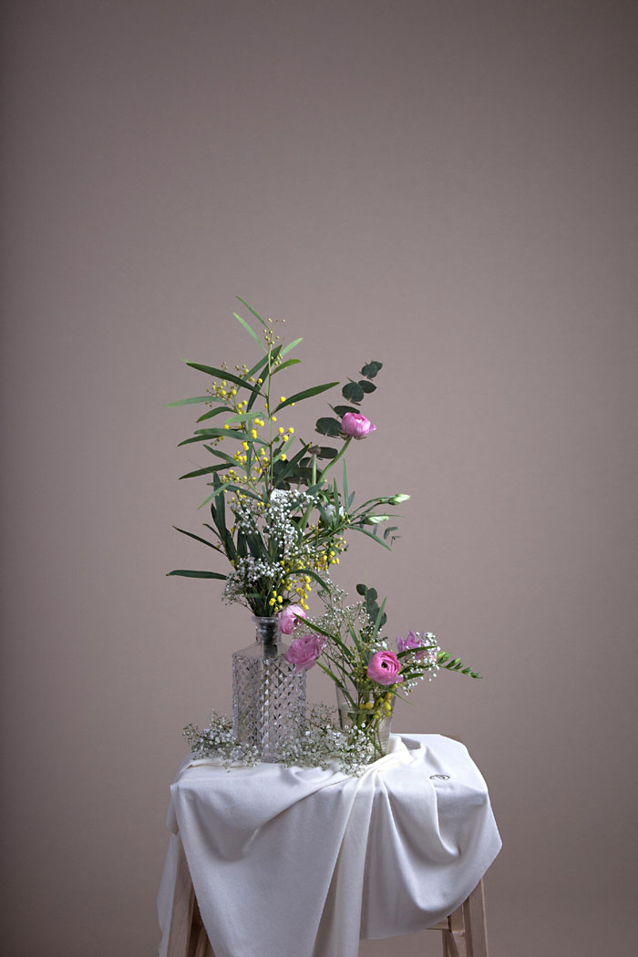 Mimosa, Renoncule, Gypsophile, Eucalyptus et Freesia Création L'Amoureuse by Ingrid Fey